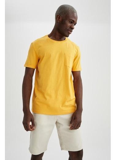 DeFacto Regular Fit Bisiklet Yaka Basic T-shirt Sarı